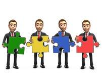Lächelnder Geschäftsmann vier mit Puzzlespielen stockfoto