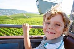 Lächelnder glücklicher blonder littlekid Junge in den Kabelfunikulären Überweinbergen im Sommer Stockbild