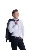 Lächelnder gutaussehender Mann gekleidet im Gesellschaftsanzug Lizenzfreie Stockbilder