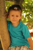 Lächelnder Junge auf dem Baum Stockbild