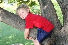 Lächelnder Junge, der einen Baum umarmt Stockfoto