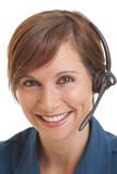 Lächelnder junge Frau Telemarketer lizenzfreies stockbild