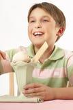 Lächelnder Junge mit einer Eiscremewüste Stockfotos