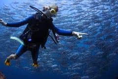Lächelnder Junge mit Schablone und Unterwasseratemgerät stockbilder