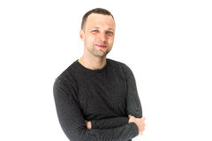 Lächelnder junger erwachsener europäischer Mann, Studioporträt Lizenzfreie Stockbilder