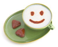 Lächelnder Kaffee Stockbilder