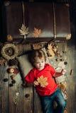Lächelnder kleiner Junge, der mit Blättern und dem Betrachten der Kamera spielt Die größten Rabatte während alles Herbstes kleide stockfotos