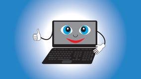 Lächelnder lebendiger Laptop lokalisierter Steigungshintergrund Lizenzfreie Stockbilder