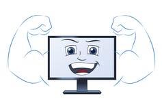 Lächelnder leistungsfähiger Computer Stockfoto