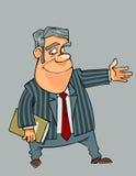 Lächelnder Mann der Karikatur in einem Anzug und in einer Bindung zeigt seine Hand in Richtung zu Lizenzfreies Stockbild