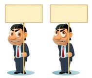 Lächelnder Mann in der Klage, die leere Fahne hält Düsterer Mann in Klage hol Lizenzfreie Stockbilder