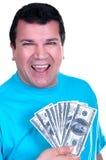 Lächelnder Mann mit 100 Rechnungen Stockbild