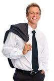 Lächelnder Mann mit Anzug im Studio Stockbild