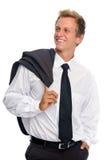 Lächelnder Mann mit Anzug im Studio Stockfotos