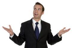 Lächelnder Mann mit geöffneten Palmen Lizenzfreie Stockbilder