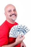Lächelnder Mann mit Rechnungen $-100 Stockbild