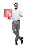 Lächelnder Mann mit roter Einkaufstasche Stockbilder