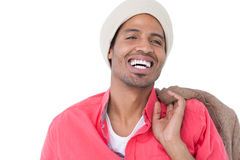 Lächelnder Mann tragender Beaniehut Lizenzfreies Stockfoto