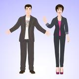 Lächelnder Mann und Frau in der Büroart tragen Lizenzfreies Stockfoto