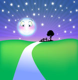 Lächelnder Mond nachts