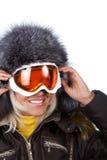 Lächelnder netter Skifahrer Stockbild