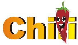 Lächelnder Paprikapfeffer und großes orange Wort Stockbild