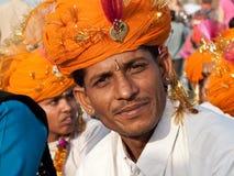 Lächelnder Rajput Musiker Lizenzfreies Stockfoto