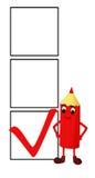 Lächelnder roter Bleistift mit 3 Checkkästen Vektor Abbildung