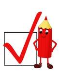 Lächelnder roter Bleistift mit einem Checkkasten Stock Abbildung