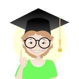 Lächelnder Schüler mit Gläsern Stockfotografie