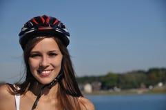 Lächelnder Schlittschuhläufer in dem Meer Lizenzfreie Stockfotos
