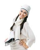 Lächelnder Schlittschuhläufer der weiblichen Abbildung hält Rochen an Lizenzfreie Stockbilder