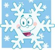 Lächelnder Schneeflocken-Karikatur-Maskottchen-Charakter Stockfotos
