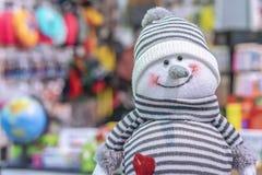 Lächelnder Schneemann des weichen Spielzeugs in einem gestreiften Hut und in einer Strickjacke stockbilder