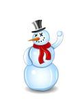 Lächelnder Schneemann mit rotem Schal und Schneeball lizenzfreie abbildung