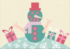 Lächelnder Schneemann mit Weihnachtsgeschenken Vektor-Illustration in einem flachen Design stock abbildung