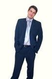 Lächelnder stattlicher junger Geschäftsmann stockbilder