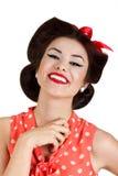 Lächelnder Stift herauf Brunettefrau Stockfotos