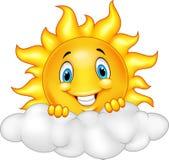 Lächelnder Sun-Karikatur-Maskottchen-Charakter Stockfotos