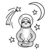 Lächelnder Trägheitsastronaut im Sturzhelm, der unter Sternen sitzt Die gezeichnete Hand, kritzeln Art stockfoto