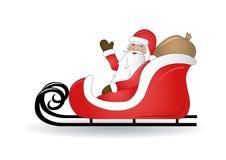 Lächelnder Weihnachtsmann mit Schlitten lizenzfreie abbildung