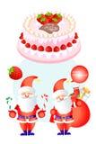 Lächelnder Weihnachtsmann mit Weihnachtsgeschenken auf dem köstlichen Kuchen - vector eps10 Stockbilder