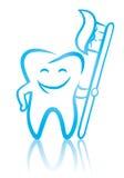 Lächelnder zahnmedizinischer Zahn mit Zahnbürste Stockfoto