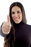 Lächelndes Baumuster mit den Daumen oben Lizenzfreies Stockfoto