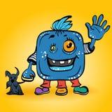 Lächelndes blaues Monster der Vektorkarikatur Lizenzfreie Stockfotos