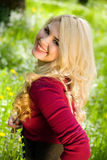 Lächelndes blondes Mädchen über grünem Gras Stockfotos