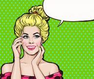 Lächelndes blondes Mädchen in der Pop-Arten-Art Pop-Arten-Mädchen Vektor Victorianillustration Abbildung des Vektor eps10 Hollywo Stockfotografie