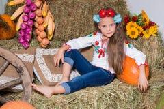 Lächelndes blondes Mädchen mit dem langen Haar in einem bunten ukrainischen Kranz und in gestickt, sitzt auf Heuschobern Herbstde lizenzfreies stockbild