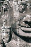 Lächelndes Buddha-` s Gesicht in Bayon-Tempel an Angkor Thom Komplex, Siem Reap, Kambodscha Lizenzfreie Stockbilder