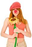 Lächelndes Clownmädchen Lizenzfreie Stockfotos
